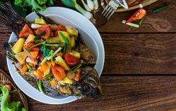 Thai Fried Fish and Topped with Fried Stir Sweet and Sour stock photography