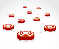 To many Targets. Vector Illustration of many darts as the target making a link Stock Images