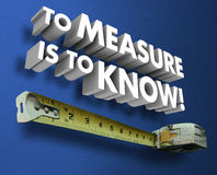 To Measure is the Know Measuring Tape 3d Words Saying Stock Photos