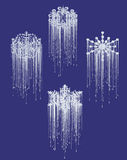 To melt. Snow and ice melt on blue background Royalty Free Stock Images