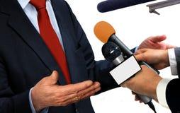 tło mikrofonów prasy konferencja odizolowane white Obraz Stock