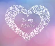 to moja walentynka Tekst wśrodku serca kwiaty Delikatny romantyczny projekt Fotografia Stock