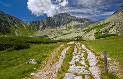 To the Mountain. Road to the Fukotska Valley in Vysoke Tatry Mountain Stock Images