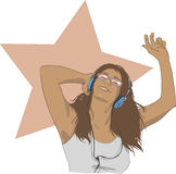 To The Music. Drawing of a Girl listening to music, through headphones Royalty Free Stock Photo
