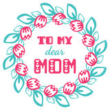 To my dear mom. Greeting cards inscription for Mother's Day. Royalty Free Stock Photos