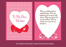 To my dear valentine. Two sided valentine's card with copy space. Easy to use and edit Royalty Free Stock Images