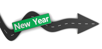 To new year. 3d illustration of road with direction arrow and new year sign royalty free illustration