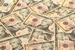 Tło nowi banknoty dziesięć dolarów Zdjęcia Royalty Free