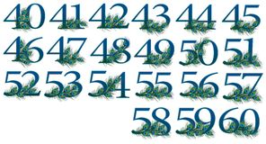 40 to 60 number set of 0 to 100 peacock Numbers. 40 to 60 number pieces of 0 to 100 peacock Numbers . ALL 100 NUMBERS ARE DIFFERENT FROM EACH OTHER. AS 20 PIECES stock illustration