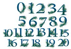 0 to 20 number set of 0 to 100 peacock Numbers. 0 to 20 number pieces of 0 to 100 peacock Numbers . ALL 100 NUMBERS ARE DIFFERENT FROM EACH OTHER.  YOU CAN GET Royalty Free Stock Image