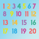 1 to 20 numbers numerics in different colors for children. Numerics numbers 1 to 20 in many colors like red,orange,purple,yellow,blue,green with blue background Stock Images