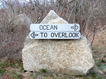 To the Ocean Sign. Sign with arrows pointing to the Ocean or to the Overlook stock images