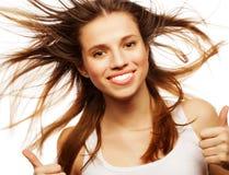 tło oddalonej muchy dziewczyny wielki włosy nad white, Fotografia Stock