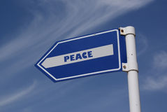 To the peace road sign. Stock Photos