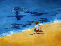 To perceive the passing of time. A child look at the sea and see an big surreal clock Stock Photography