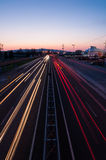 Sassuolo, piedmont road. To piedmont road overpass (Sassuolo) at sunset. due to the long exposure traffic seems to dematerialize, giving the shot dynamism Royalty Free Stock Photo
