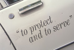 Free �To Protect And To Serve� On Door Of LA Police Car, California Royalty Free Stock Photos - 52301008