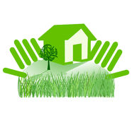 To protect home. House and hands Royalty Free Stock Images