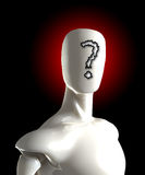 To Question. Faceless figure with a question mark on its face Stock Photo