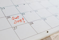 To quit job. As reminder on calendar Royalty Free Stock Photo