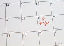 To quit job. As reminder on calendar stock image