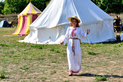 To raise the spirit of the warriors arrived and their ladylove. International Championship on the historical medieval battle Call of heroes. It passes near Kiev Stock Photography