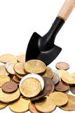 To rake in the money a shovel Stock Image