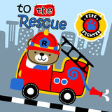 To the rescue. Fire engine to the rescue in the city, vector cartoon vector illustration