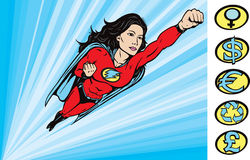 To the Rescue. Super heroine drawing where her crest can be removed Royalty Free Stock Images