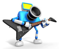 To the Right toward the Blue Camera Character playing the guitar Stock Images