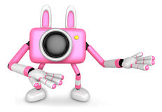 To the Right toward the Pink Camera Character guide you. Create Royalty Free Stock Photo