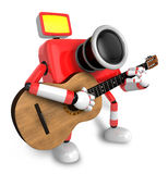 To the Right toward the Red Camera Character playing the guitar. Royalty Free Stock Images