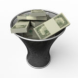 To roll in money. Money in waste basket. Isolated Royalty Free Stock Photos