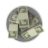 To roll in money. Money in waste basket. Isolated stock illustration