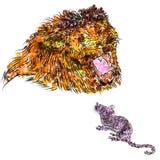 Tão ruidosamente quanto um leão, tão quieto quanto um rato Os opostos atraem! Imagem de Stock