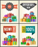 10 to 90 Sale Best Half Price Offer Shop Now Boxes. 10 to 90 sale best half price offer shop now 100 guarantee set of labels on posters with piles of gift boxes Royalty Free Stock Images