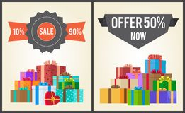 10 to 90 Sale Best Half Price Offer Shop Now Boxes. 10 to 90 sale best half price offer shop now total guarantee set of labels on posters with piles of gift Royalty Free Illustration
