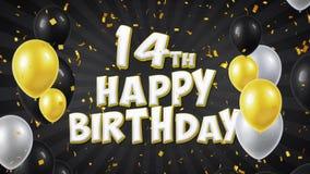 14to saludo del texto del negro del feliz cumpleaños, deseos, fondo del lazo de la invitación libre illustration