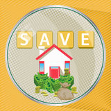 To save to insure the house. And the finance. illustration for your design Royalty Free Stock Photo
