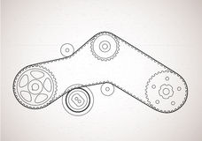 To the scheme of a belt drive. Technical background Royalty Free Stock Photo