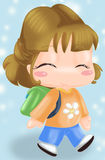 To the school. Cute happy little girl go to school Stock Images