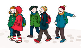 To the school. Many laughing schoolchildren go to the school in a winter day. Digital illustration isolated on white background Stock Image
