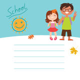 To school Design with two kids Royalty Free Stock Image