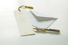 To scribe. Close up of pen,envelope,bookmark Royalty Free Stock Photography