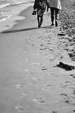To the seaside. Woman walking in the beach stock photography