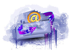 To send a letter. Envelope and mail sign on abstract background Stock Photography