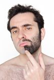 To shave or not to shave stock image