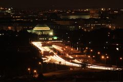 Long exposure shot of the city view for the Jefferson memorial. Always to shot at night with the city lights. Great view of it from stock photography