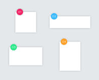 1 to 4 Simple White Vector Text Boxes With Badges Stock Photography