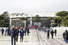 To stadio olimpico. Italian supporters are going to the stadio olimpico at rome in italy Royalty Free Stock Photography